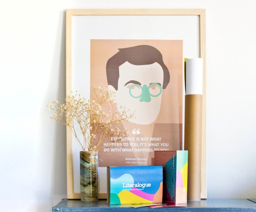 Literalogue Postcard box and poster tube_Aldous Huxley Framed