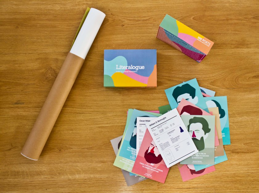 Literalogue Postcard Box and Poster Tube_Postcards Scattered
