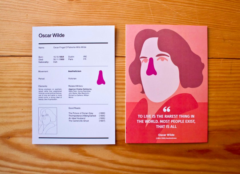 Literalogue_Prototype_Oscar Wilde front portrait and reverse side