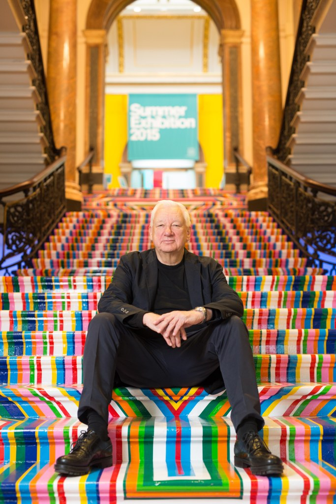 Michael Craig-Martin CBE RA unveiling a new site-specific artwork by Jim Lambie for the Summer Exhibition 2015 © David Parry, Royal Academy of Arts