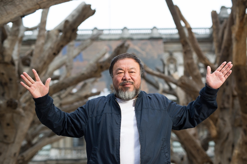 Ai Weiwei presenting his installation Tree in the courtyard at the Royal Academy of Arts, 2015. Ph. Dave Parry, Courtesy of Royal Academy of Arts, London.