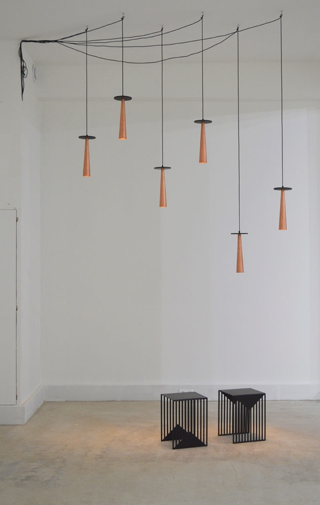 Punkt suspension lights + Zick Zack side tables by Olga Bielawska.