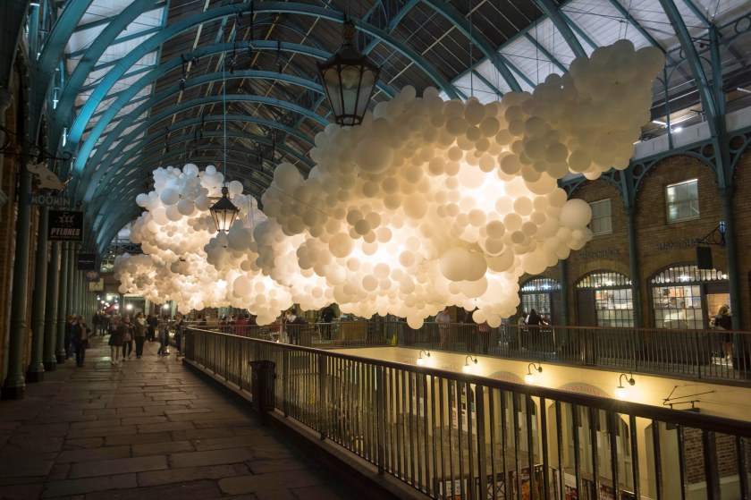 Visitors to Covent Garden today marvelled at its latest cultural installation: Heartbeat, a collection of 100,000 white balloons by Charles Pétillon which will be in place for a month.