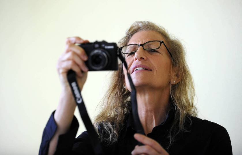 sf-go-west-palm-annie-leibovitz-norton-011813-b, West Palm Beach, 1/17/2013 --  Prominent celebrity portrait photographer Annie Leibovitz  photographs photographers photographing her during a press event where she talked about the 39 photographs of hers purchase by the  Norton Museum of Art and on display there now.  Mark Randall, South Florida Sun Sentinel