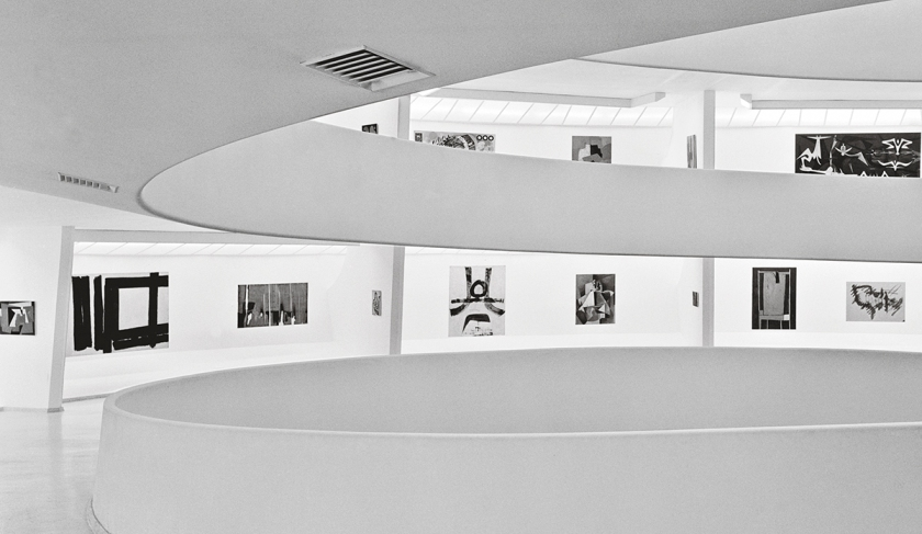 Installation View: Inaugural Selection, Solomon R. Guggenheim Museum, New York, October 21, 1959– June 19, 1960 Third from left: Alberto Burri's Legno e bianco 1(Wood and White 1, 1956) Photo: © Solomon R. Guggenheim Foundation, New York