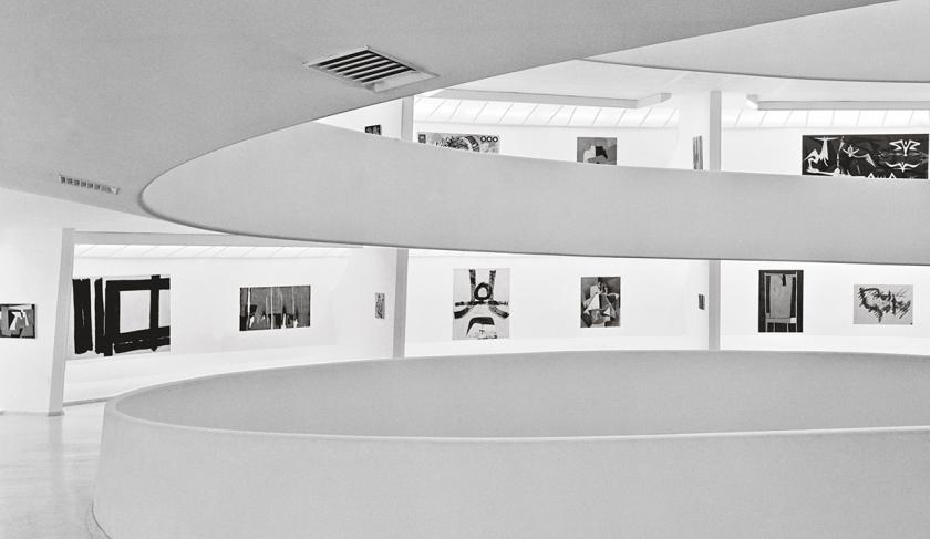 Installation View: Inaugural Selection, Solomon R. Guggenheim Museum, New York, October 21, 1959– June 19, 1960 Third from left: Alberto Burri's Legno e bianco 1(Wood and White 1, 1956) Photo: © Solomon R. Guggenheim Foundation, New York