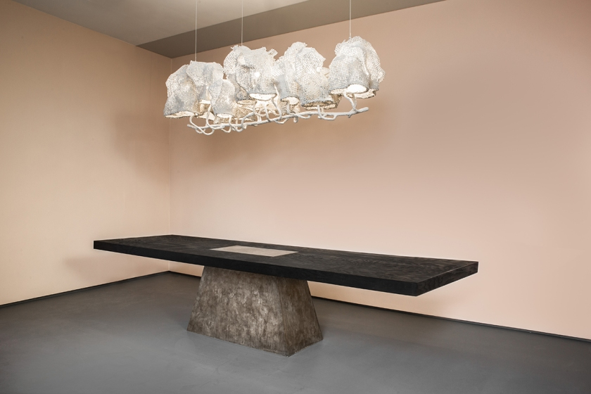 NACHO CARBONELL | WHITE COCOON CHANDELIER, 2016 + RICK OWENS | PLUG TABLE (BRONZE AND BLACK PLYWOOD), 2015