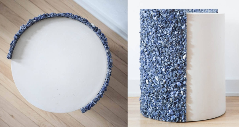 Drum: Blue Sodalite of Africa. Blue Sodalite and White Plaster.