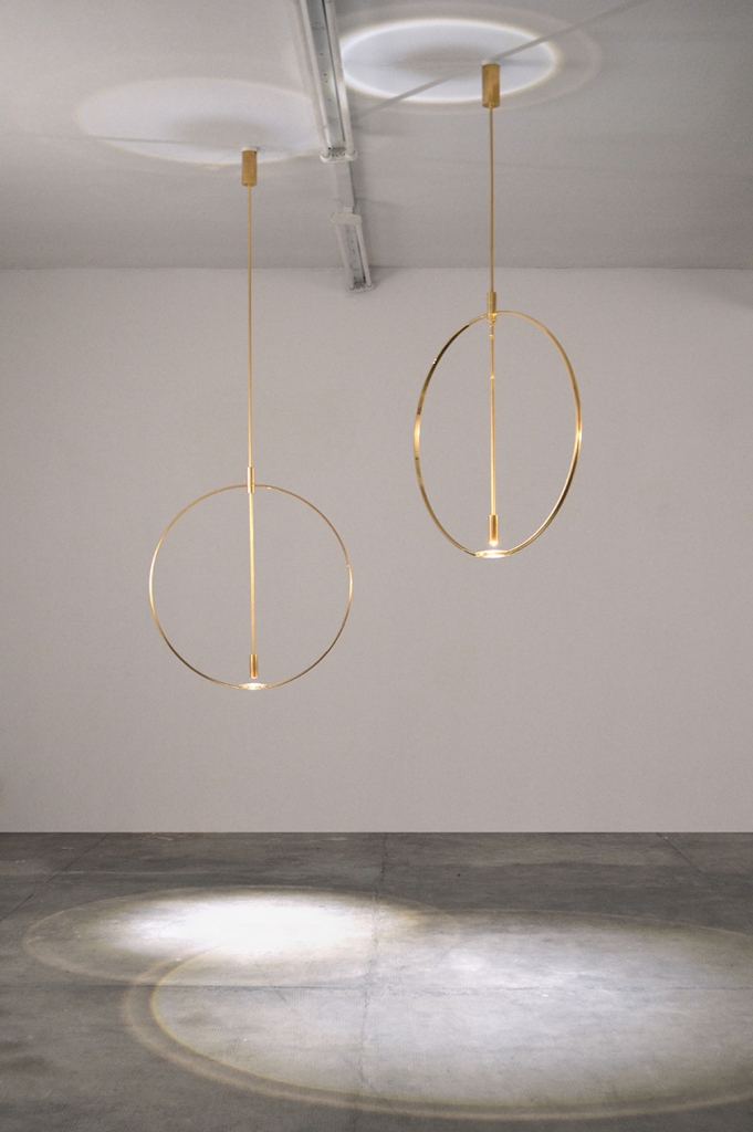Magnifier, 2016 Delta collection LED, brass, crystal glass, electrical materials Courtesy Galleria Giustini Stagetti, Rome