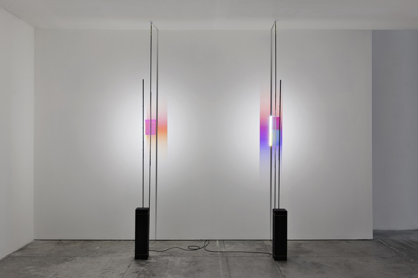 Colour - Test 3 and 7, 2016 LED, dichroic glasses, concrete, polycarbonate lens, electrical materials, rubber, pencil Courtesy Formafantasma